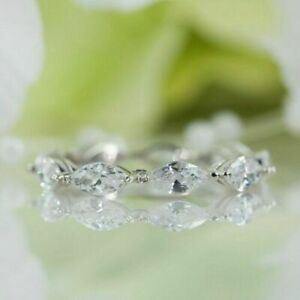 1.50 Ctw Marquise Cut Diamond Full Eternity Wedding Band Ring 14K White Gold Fn