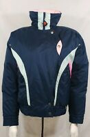 Vintage Obermeyer Woman Dynasty Jacket sz 8Blue Down Puffer Down Ski Coat 80s 90