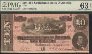 UNC 1864 $10 DOLLAR CONFEDERATE STATES CURRENCY CIVIL WAR NOTE MONEY PMG 63 EPQ