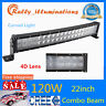 "CURVED 22""inch 120W SPOT FLOOD COMBO LED Light Bar Offroad Driving ATV Truck 4D+"