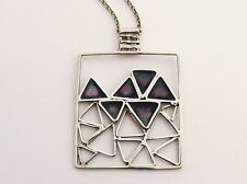 Sterling Silver Necklace Rare Oblong Pendant with Triangles by NORMAN GRANT 1971