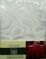 FLORAL ROSE JACQUARD WHITE SOFT TOUCH RECTANGLE OBLONG TABLECLOTH 52x70 INCHES