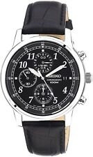 SEIKO SNDC33P1 Chronograph Black Leather Strap 100M Gents 2 Year Guar RRP £169.