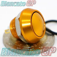 PULSANTE 12mm ORO SPST IP65 dorato alluminio push button switch campanello gold
