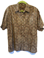 Tori Richard Men's Hawaiian Shirt Patterned Brown Size Large 100% Cotton EUC