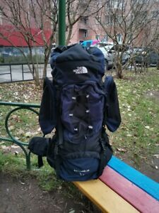 Vintage RARE The North Face Extreme Black Blue Backpack 70 Box Shot Rucksack