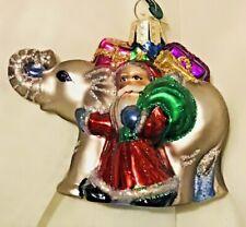 Adorable Old World Merck Family Santa With Elephant Hand Decorated Xmas ornament