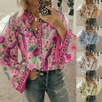 Women Boho Long Lantern Sleeve Loose Tops Ladies Hippie Gypsy Tunic Blouse Shirt