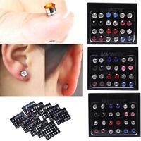 24Pcs/Set Magnetic Non-Piercing Clip Round Rhinestone Stud Earrings Jewelry MW