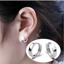Small Classic 18K White Gold Filled Smooth Ear Women Hoops Circle Hoop Earrings