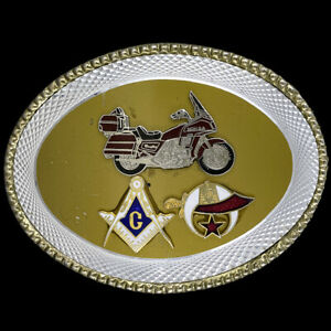 Shriner Honda Motorcycle Masonic Biker Freemason Masons Western Vtg Belt Buckle