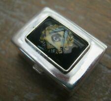 English Hallmarked Sterling Silver & Enamel Masonic Snuff / Box / Vinaigrette