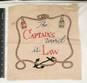 Vintage Captain's Word Is Law Handkerchief Embroidered mjb