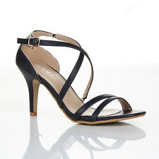 WOMENS LADIES MID HIGH HEEL STRAPPY CROSSOVER WEDDING SANDALS SHOES SIZE 3 : 8