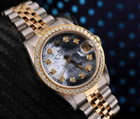 Rolex 36mm Datejust Tahitian Mother of Pearl with Diamond Numbers 2 Tone Watch