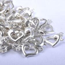 20Pcs Golden/Silver Plated Cute Heart Shape Lobster Clasps Hooks Jewelry Finding