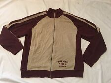 Mens Ruff Hewn Zip Up Sweater Jacket Extra Large Beige maroon XL