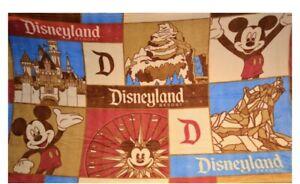 Disneyland Resort Mickey Mouse Fleece Throw Blanket Brown Red Blue Disney Parks