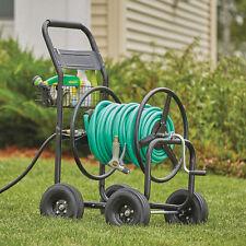Garden Yard Outdoor 4 Wheel Steel Frame Water Hose Reel Cart- Holds 300ft. Hose