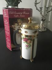 BOXED ROYAL ALBERT Old Country Roses Cafetiere Filter Coffee Maker Plunger RARE