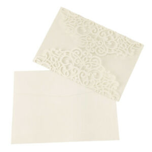 Blank Pearlescent Laser Cut Invitations, Ivory, 7-1/4-Inch, 8-Count