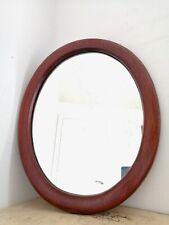 Large vintage Solid Dark Oak Oval Mirror 66cm x 54cm