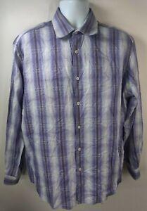 Bugatchi Uomo Mens L/S Button Up Shirt XL Purple White Striped Plaid Collared
