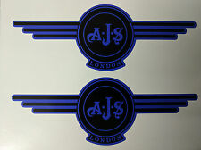 AJS London Stickers x2 A.J.S Decals Logo Tank Motorcycle Vintage Black & BLUE