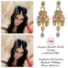 Indian Bollywood Gold Crystal Drop Dangle Chandelier Earrings Bridal Gold White