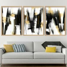 More details for 3 abstract black & yellow art prints from original textured painting mix v1