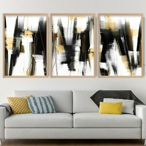 3 Abstract Black & Yellow Art Prints from Original Textured Painting Mix V1