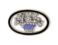 925 Argent émaillé Broche Art Nouveau m. Onyx et Pierres Swarovski 9901587