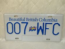 BC British Columbia License Plate 1990s 2000s Blue White 007 WFC Bond