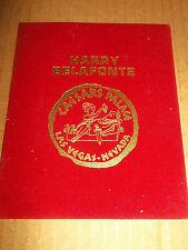 HARRY BELAFONTE ~ CAESARS PALACE LAS VEGAS ~ RED VELOUR TABLE CARD