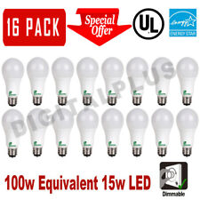 16 LED Light Bulbs GREENLITE 15W 100W Rep 1600L Warm White 3000K A19 DIMMABLE