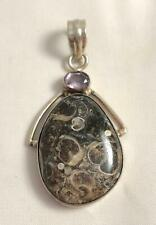 Nice Sterling Silver, Fossil Stone & Amethyst Pendant