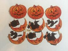 Rare Vintage 1940s Halloween Die Cuts w/ Pumpkin, Cats, Witches