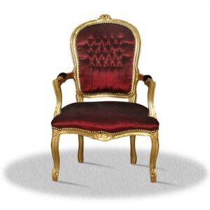 Barockstuhl bordeaux rot gold luxus design möbel lounge kamin sessel holz deko