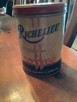 Old Vintage 1920s RICHELIEU COFFEE TIN 1 POUND CAN CHICAGO IL Sprague Warner
