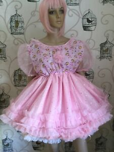 Sissy Dress Pink Satin Sparkle Tulle Fairy Princess Ruffles Puff Sleeves
