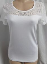 """ann Taylor"" White Lace Illusion Neck and Sleeves Blouse Top Size L"