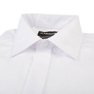MENS WHITE PLEATED FRONT COTTON BLEND TUXEDO TUX BLACK TIE WEDDING DRESS SHIRT