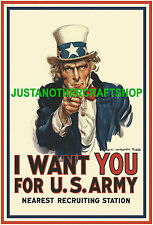 Uncle Sam A4 Poster I Want You USA Army recruitment sign from 1917 1st World War