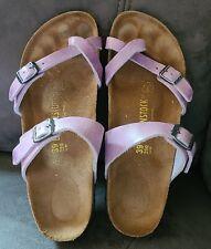 Birkenstock Lavender Purple Distressed Leather Mayari Toe Loop Sandals 39N 8