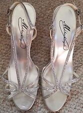 "Women 9M Michaelangelo Silver Evening Party Shoe Sequin Trim 4"" Heel Slingback"