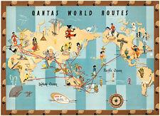 Qantas World Routes 1950 Vintage A1 High Quality Canvas Print