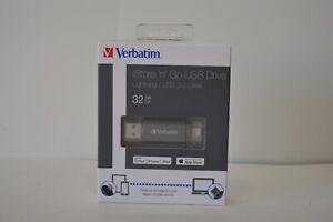 NIB Verbatim 32 GB Store n Go USB 3.0 Drive Lightning Apple Storage iPhone iPad