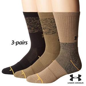 UA Socks: 3-PAIR Phenom 4.0 Crew (L) Khaki/ASSTD