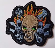 Flaming Skull Tools Skull and crossbones Embroidered Iron On Sew On Patch