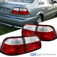 For Honda 99-00 Civic 4Dr Sedan Red Clear Tail Lights Rear Brake Lamps Pair 2PC
